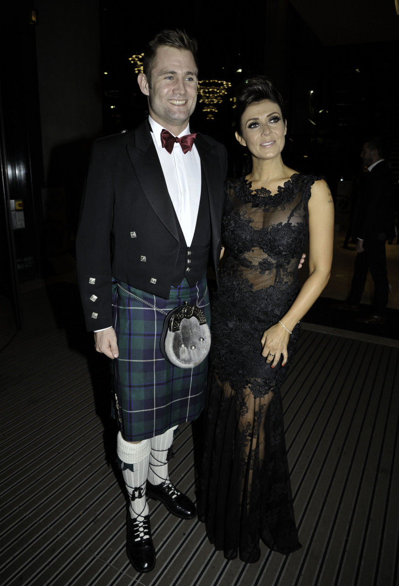 Kym Marsh and her boyfriend Scott Ratcliffe are among the guests arriving at the Emerald charity ball at Hilton Hotel in Manchester, UK.