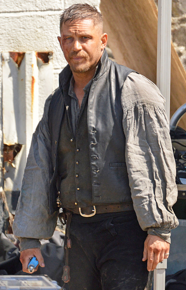 Tom Hardy on set of Taboo in Cornwall