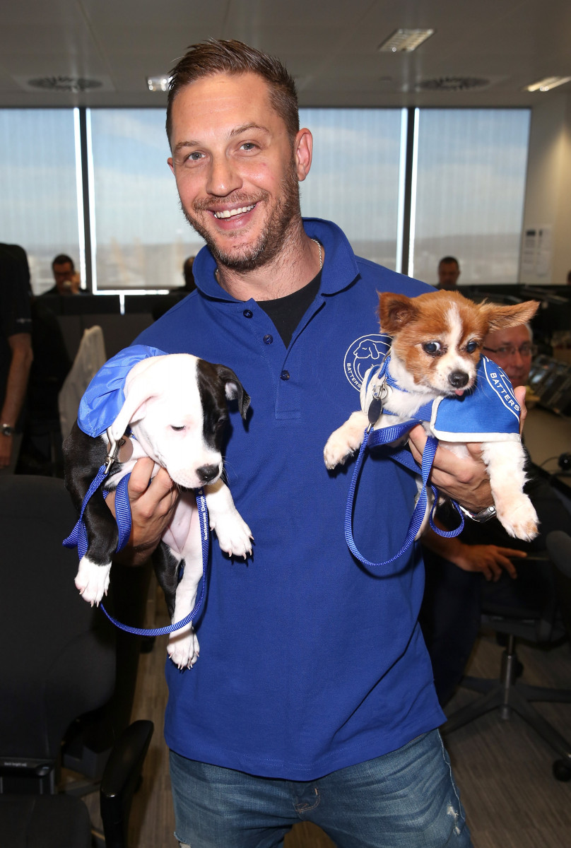 Tom Hardy poses for a photo with two puppies in support of Battersea Dogs and Cats Home at the BGC Annual Global Charity Day