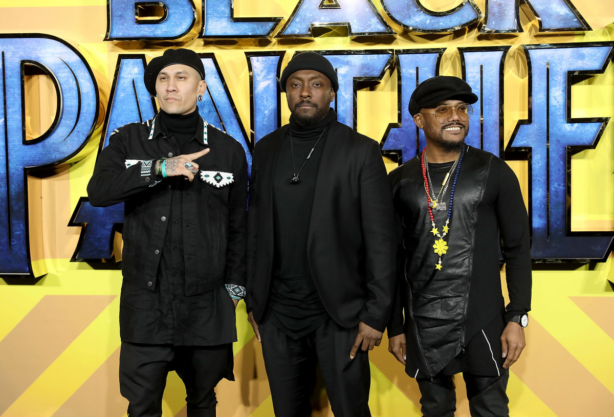 Taboo, will.i.am and apl.de.ap of The Black Eyed Peas attend the European Premiere of 'Black Panther' at Eventim Apollo