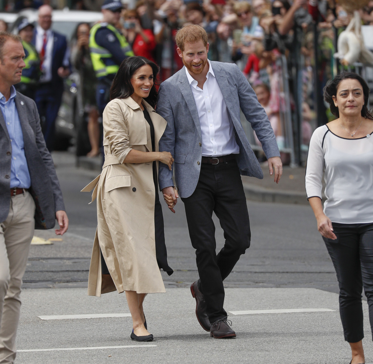 Prince Harry and Meghan Markle catch a tram in Melbourne