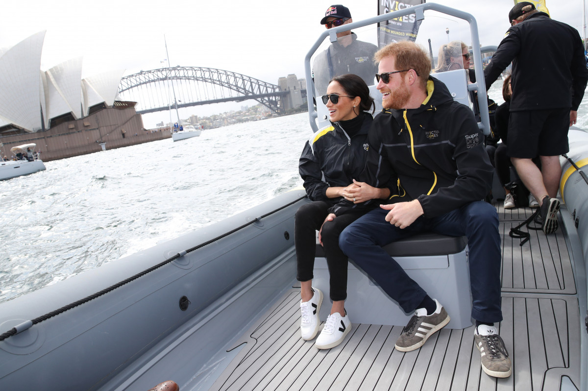 Prince Harry, the Duke of Sussex and Meghan, the Duchess of Sussex attend the sailing during the Invictus Games in Sydney