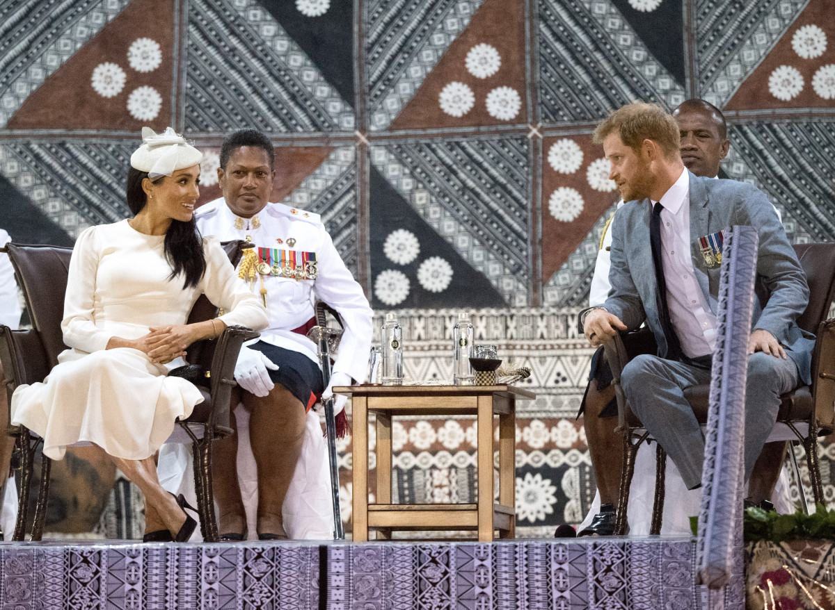 Prince Harry, the Duke of Sussex and Meghan, the Duchess of Sussex attend an official welcome ceremony in Fiji. The ceremony, known as the Veirqaraqaravi Vakavanua, embodies Fijian cultural identity and heritage, and mirrors in format that of the one attended by The Queen and The Duke of Edinburgh in 1953
