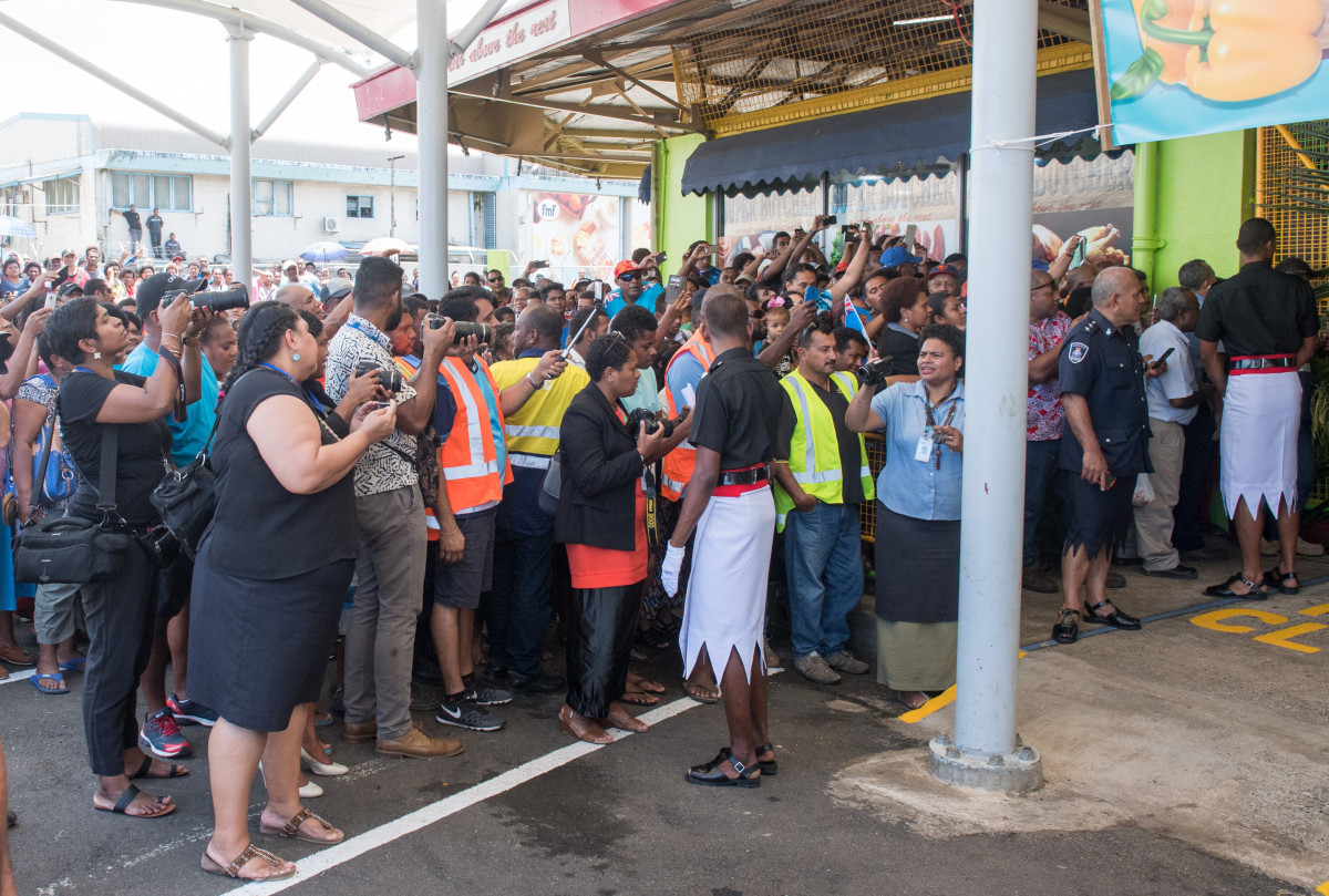 Meghan, the Duchess of Sussex visits Suva Market to meet some of the female vendors who have been involved in the UN Women's project 'Markets for Change' before cutting her visit short due to security issues