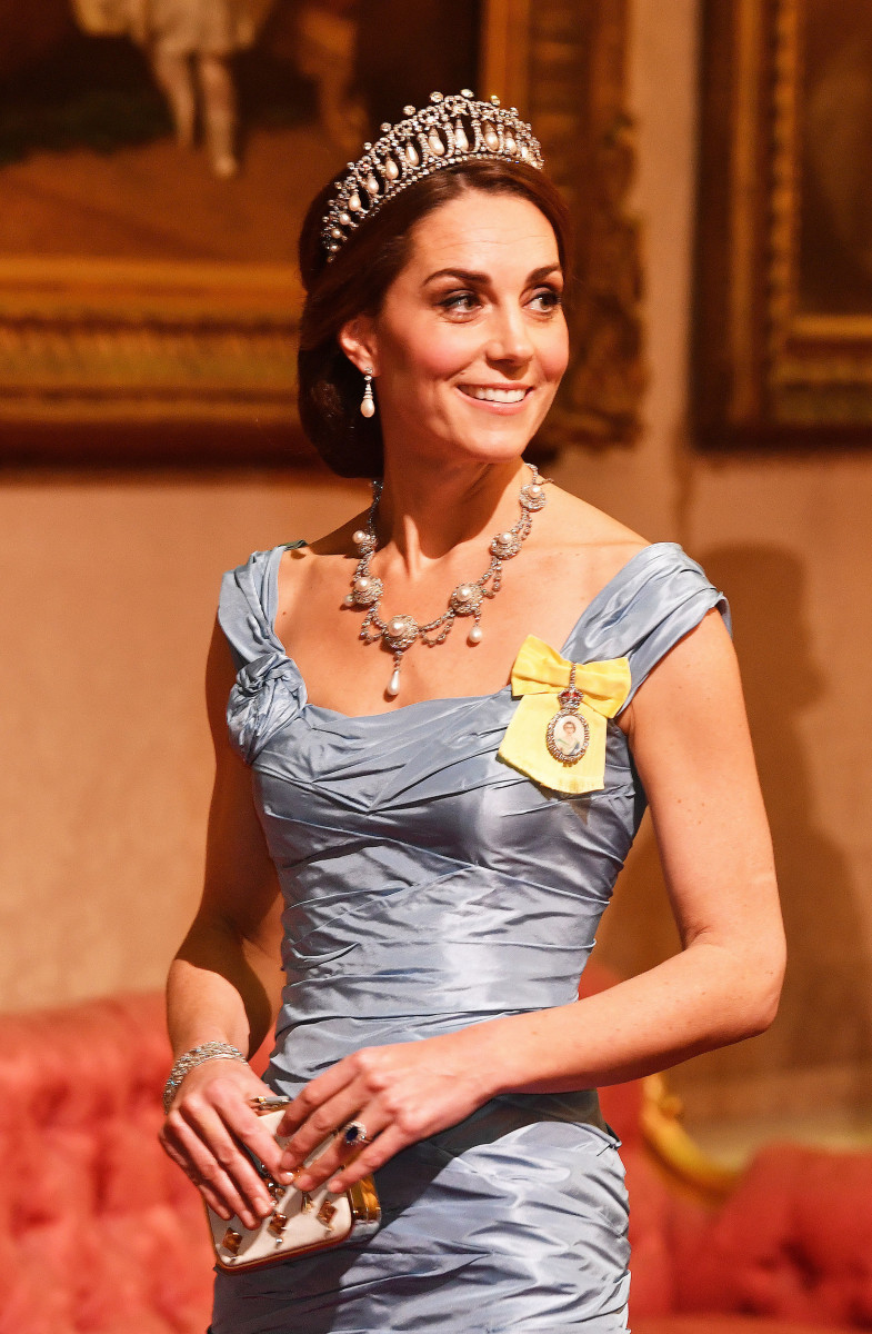Catherine, Duchess of Cambridge during a State Banquet at Buckingham Palace on October 23, 2018 in London, United Kingdom. King Willem-Alexander of the Netherlands accompanied by Queen Maxima are staying at Buckingham Palace during their two day stay in the UK. The last State Visit from the Netherlands was by Queen Beatrix and Prince Claus in 1982. (Photo by John Stillwell - WPA Pool/Getty Images)