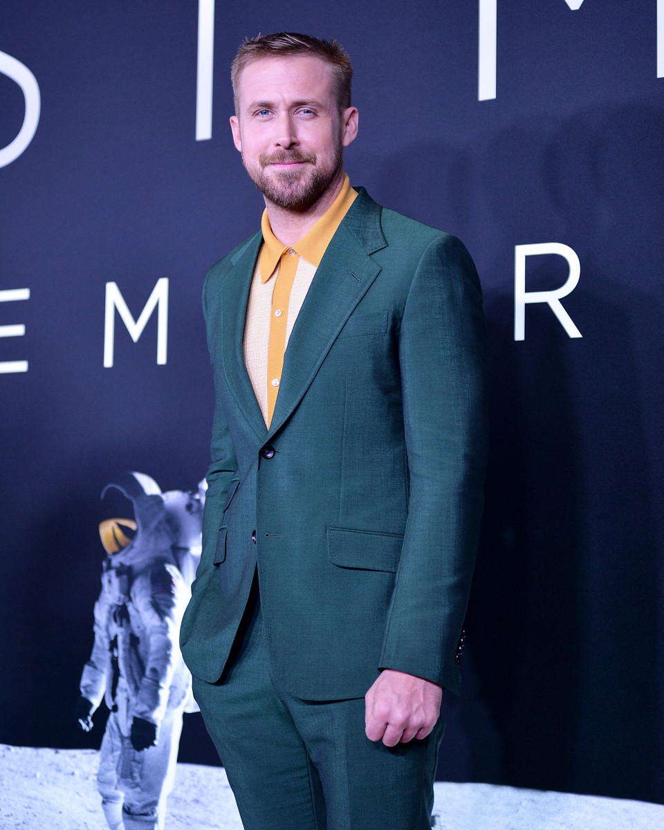 Ryan Gosling attends the 'First Man' premiere at the National Air and Space Museum