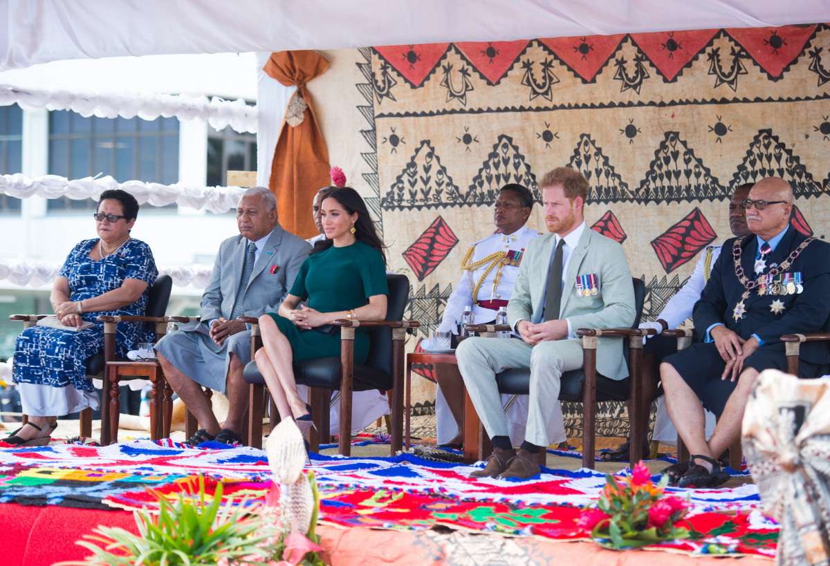Prince Harry, the Duke of Sussex and Meghan, the Duchess of Sussex attend an official welcome ceremony at Nadi Airport in Fiji
