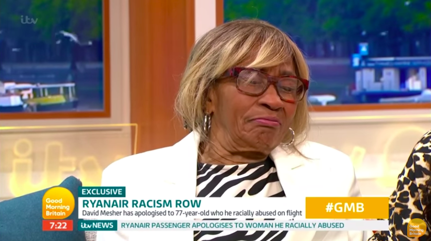 Ryanair 'racist' apologises to victim on live TV – and is rejected