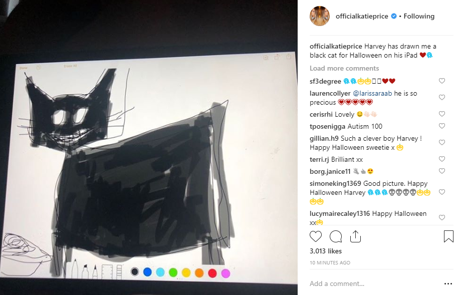Katie Price's pic of son Harvey's Halloween drawing