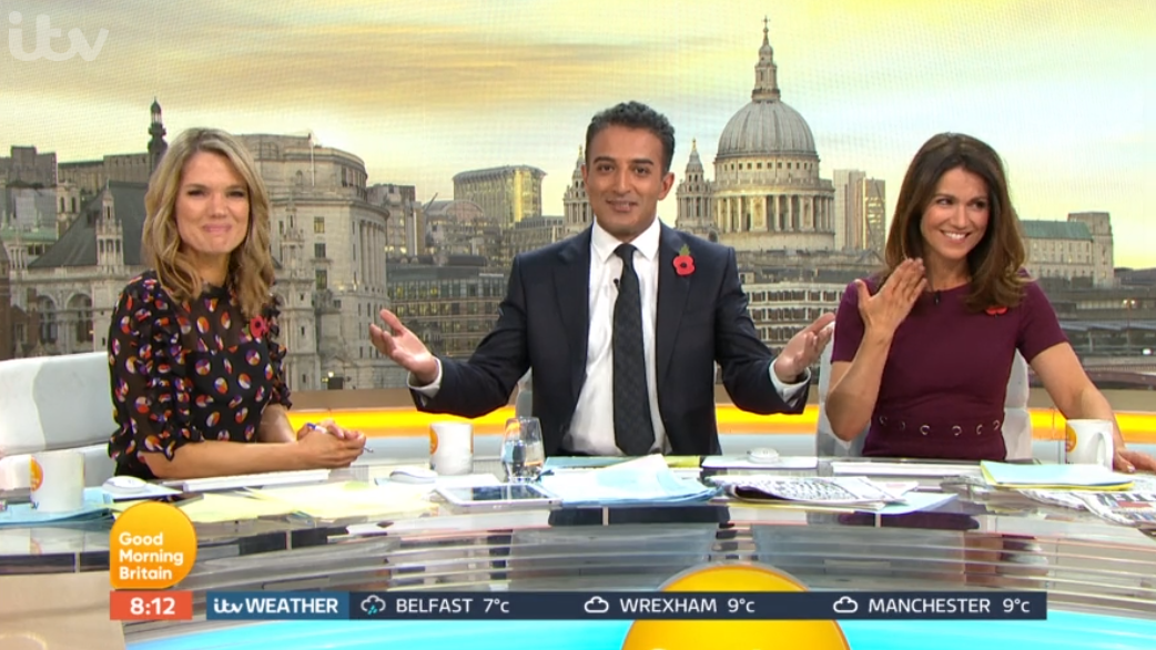 Charlotte Hawkins, Adil Ray and Susanna Reid on GMB