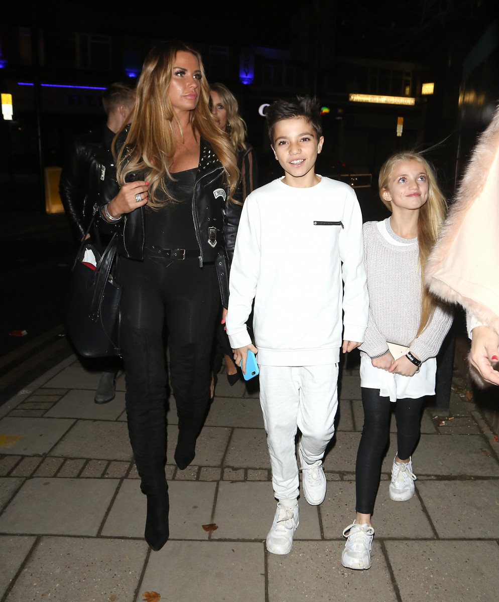 Kaite Price leaves the X Factor studios with her children Junior and Princess in London