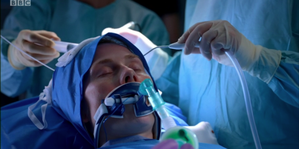 Jac Naylor operating table theatre Holby City