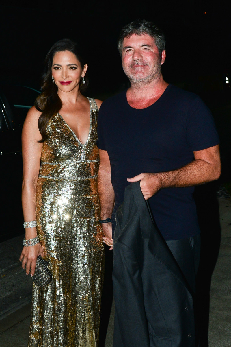 Simon Cowell and Lauren Silverman arriving at the Simon Cowell 'Hollywood Star Celebration Party' at Italian restaurant Ago in Los Angeles.