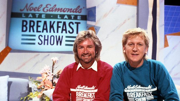 Presenters Noel Edmonds and Mike Smith on Late Late Breakfast Show