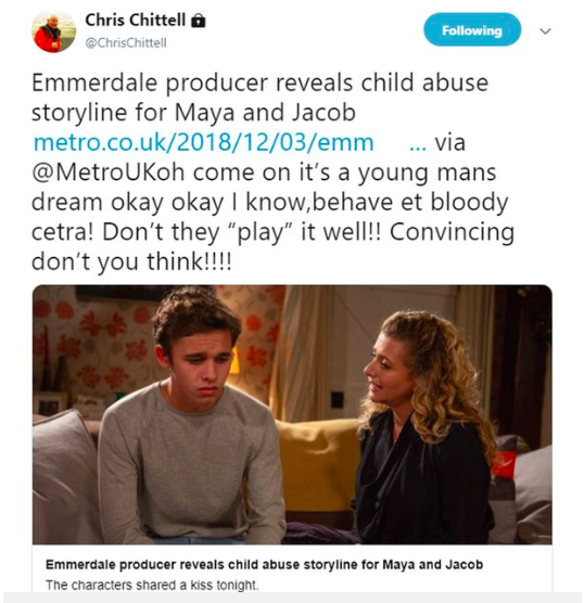 Emmerdale's Chris Chittell sparks outrage with tweet about grooming storyline