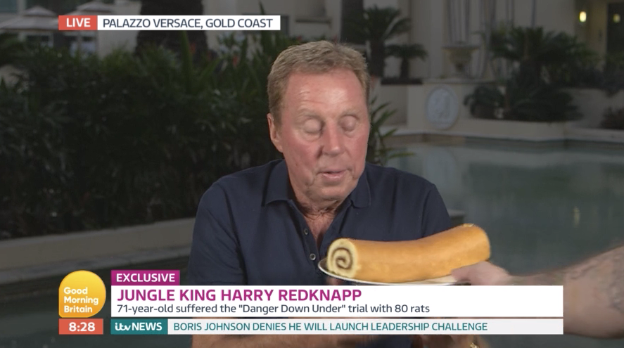 I'm A Celeb winner Harry Redknapp finally gets his lips round a jam roly-poly and viewers are ecstatic