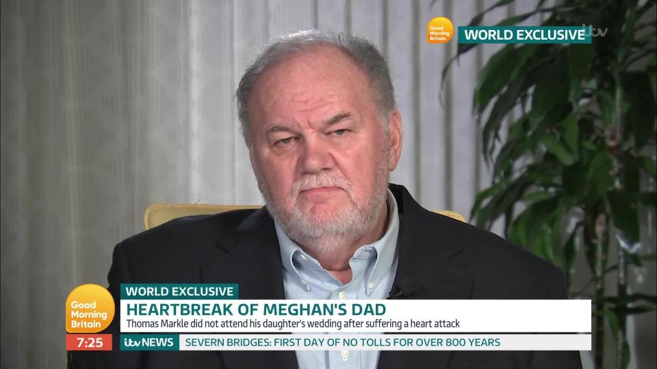 Thomas Markle claims 'controlling' daughter Meghan has 'ghosted' him