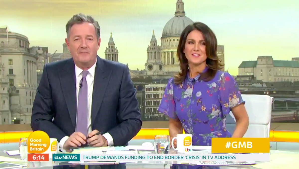 Piers hosts Good Morning Britain with Susanna Reid