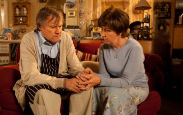 Coronation Street' TV Programme - Jan 2014 Ep 8305 Monday 20 January 2014 - 2nd Ep Hayley Cropper, as played by Julie Hesmondhalgh silently looks out of the flat window as the world goes about its business knowing today is to be her last. Ironing Roy Cropper, as played by David Neilson, best shirt, she asks him to wear it to her funeral. Clearly pained at the idea, Roy asks Hayley to reconsider but Hayley's mind is made up. Realising with dread that the time has come, Roy helps Hayley into bed but they're disturbed when Tyrone calls round looking for Ruby's toy kangaroo. Sensing things aren't right, Anna shuts the cafe and sits alone in the dark. Upstairs, Hayley prepares to take her lethal cocktail, telling Roy he must not touch the glass or have any part in it . Has Weatherfield's greatest love story come to end? Jan 2014 Image ID: 3640404er Featured in: 'Coronation Street' TV Programme - Jan 2014 Photo Credit: ITV/Shutterstock