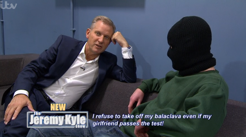 Jeremy Kyle fans baffled by guest who appears in balaclava alongside his twin brother