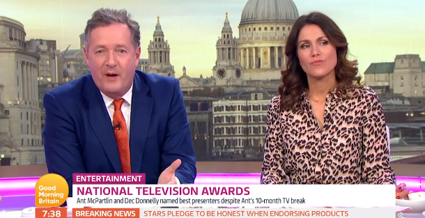 """Annoyed"" Piers Morgan slams Ant McPartlin NTAs speech after win"