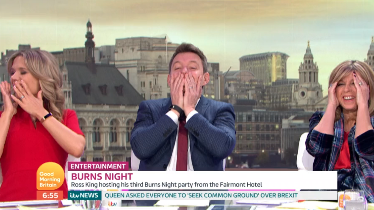 Good Morning Britain's Richard Arnold gives co-hosts a cheeky flash live on air!