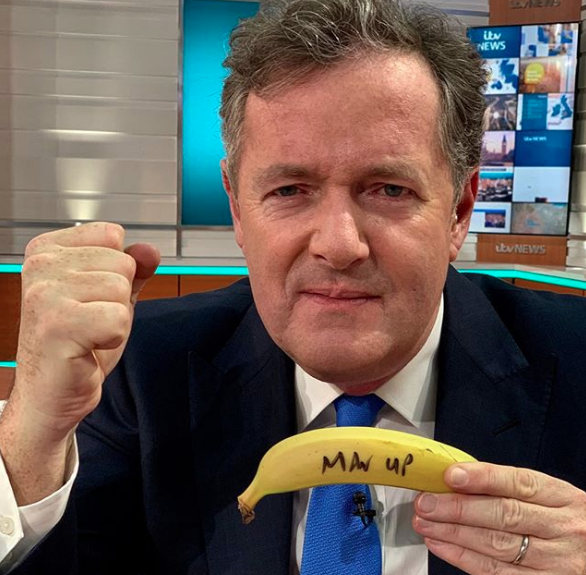 Piers seems annoyed at this banana too