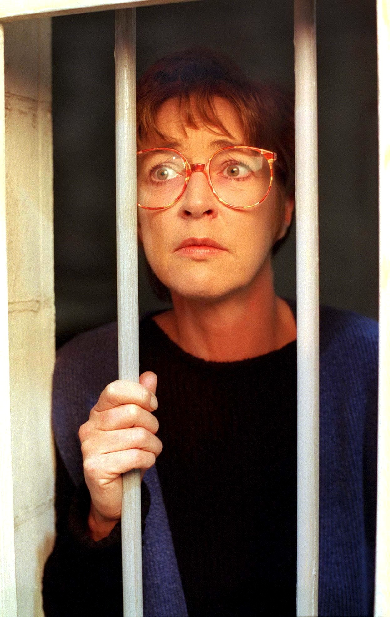 Editorial use only. Exclusive - Premium Rates Apply. Call your Account Manager for pricing. Mandatory Credit: Photo by ITV/REX/Shutterstock (669631kk) Coronation Street TV - Deirdre Rachid [Anne Kirkbride] behind the bars of her prison cell ITV ARCHIVE