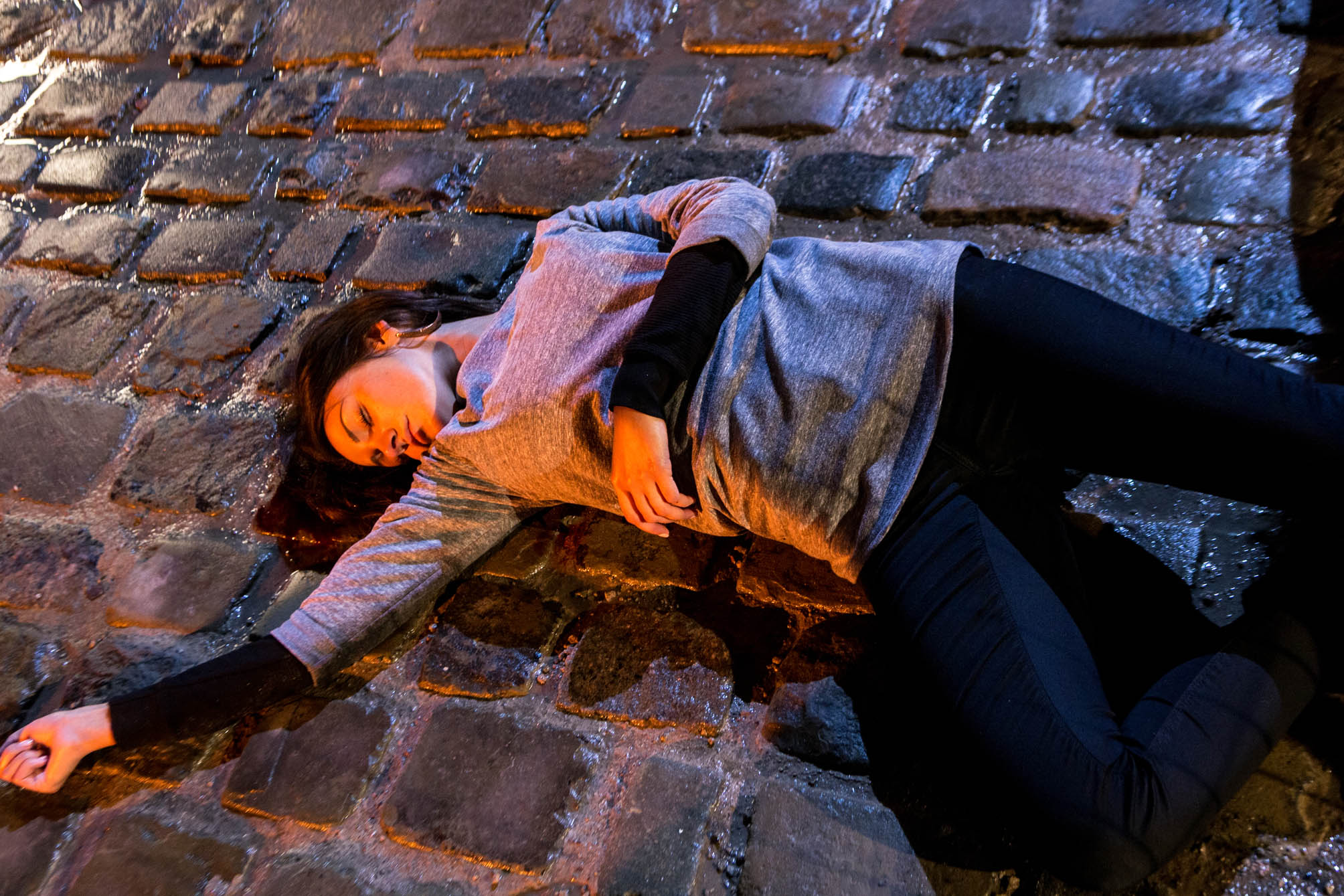 Editorial use only Mandatory Credit: Photo by ITV/REX/Shutterstock (3785776bd) Coronation Street barmaid Tina McIntyre, as played by Michelle Keegan, lies motionless on the cobbles after plunging from the balcony of the builder's yard flat following a dramatic showdown. 'Coronation Street' TV Programme - May 2014 Coronation Street Tuesday 27 June