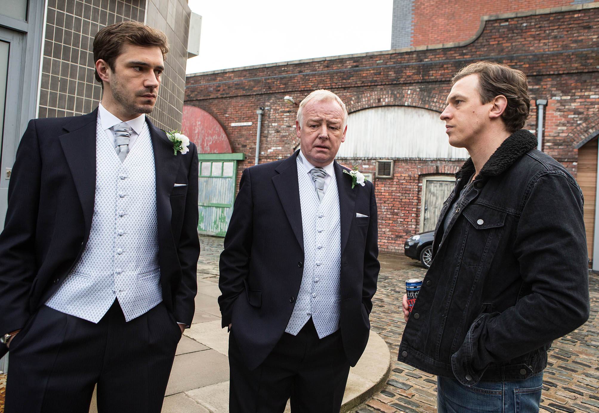 Editorial use only Mandatory Credit: Photo by ITV/REX/Shutterstock (8965186g) Ep 8592 Monday 9 March 2015 - 1st Ep Andy, as played by Oliver Farnworth, a bag of nerves, feeling guilty about the fake mugging. Gavin Rodwell, as played by Mark Holgate, clocks Michael Rodwell, as played by Les Dennis, and Andy dressed for the service. Michael proudly explains that his son is his best man. Gavin's scathing and tells Michael that if he were his son, he'd despise him and never forgive him. 'Coronation Street' TV Series - Mar 2015