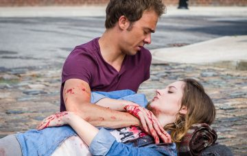 Editorial use only Mandatory Credit: Photo by ITV/REX/Shutterstock (5736696de) Kylie Platt, played by Paula Lane last dramatic moments as she dies in the arms of her husband, David Platt, played by Jack P. Shepherd on the Coronation Street cobbles. 'Coronation Street' TV show - Jun 2016