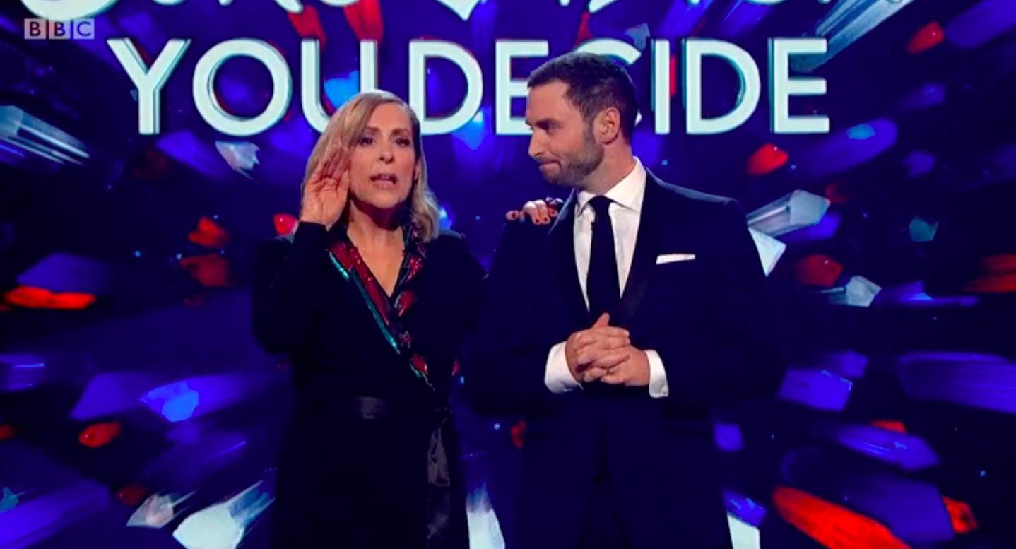 Mel Giedroyc, Måns Zelmerlöw, Eurovision