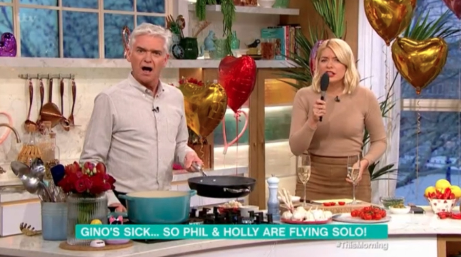This Morning in chaos as Phil and Holly are forced to host cooking segment solo
