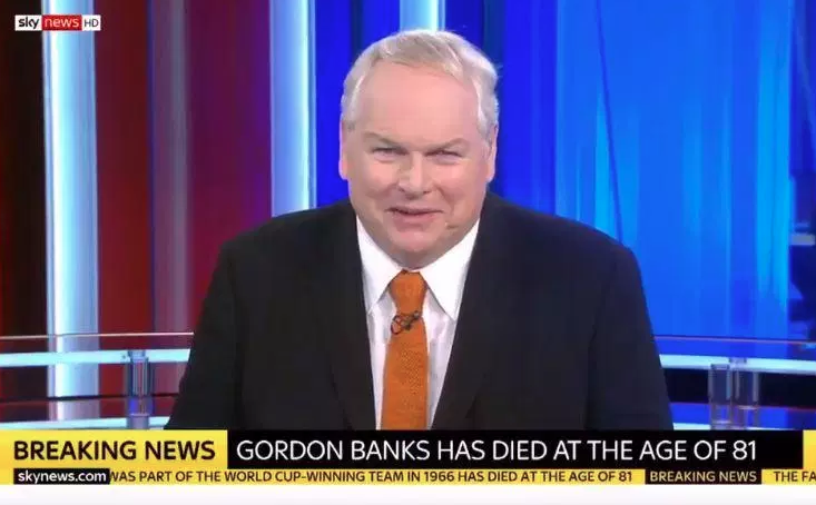 TV         Sky new presenter Adam Boulton accidentally announces death of former PM     Gordon Brown is alive and kicking                By Robert Leigh             Februa
