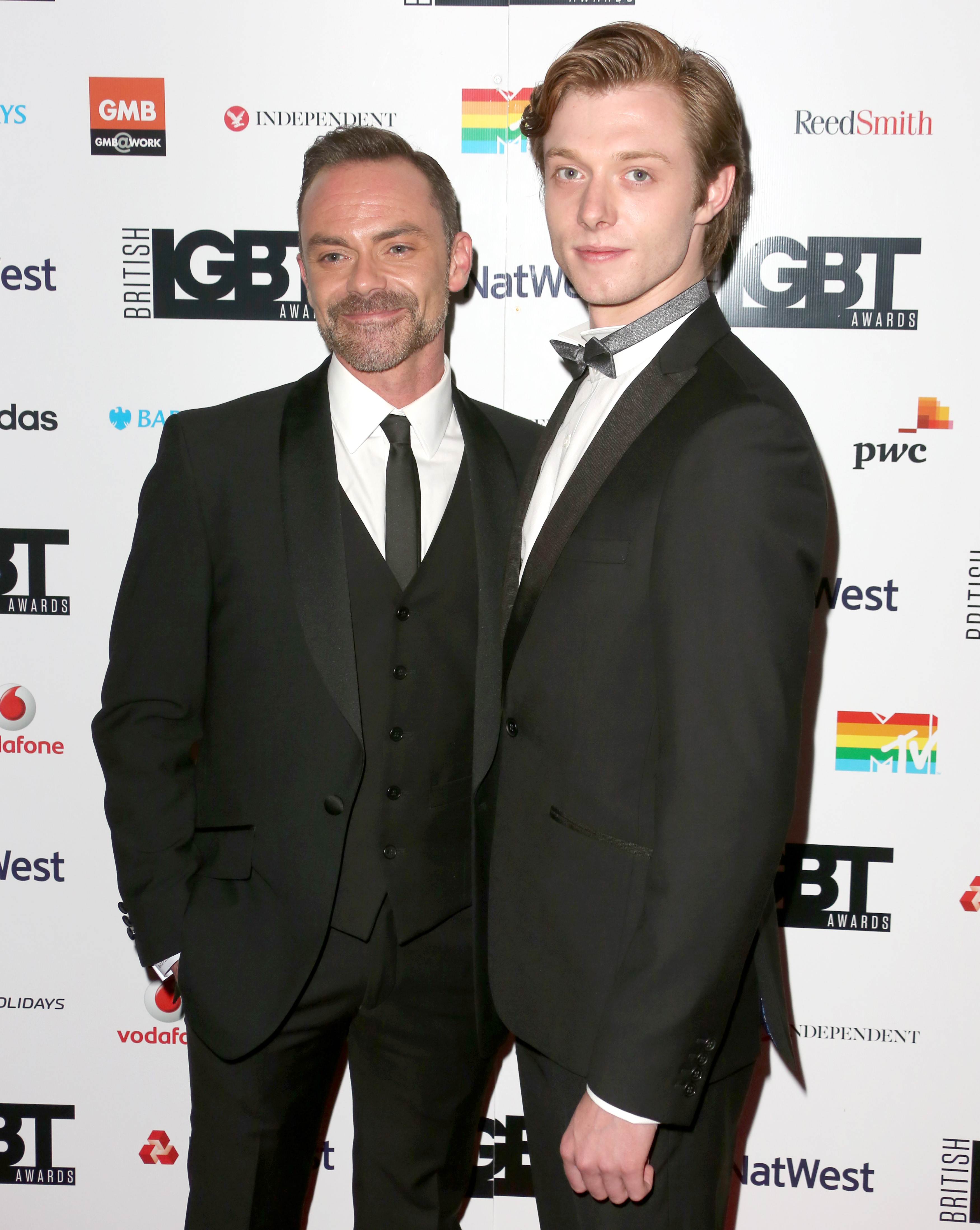 The British LGBT Awards 2017, Grand Connaught Rooms, London UK, 12 May 2017, Photo by Brett D. Cove Pictured: Daniel Brocklebank,Rob Mallard,Adele Roberts