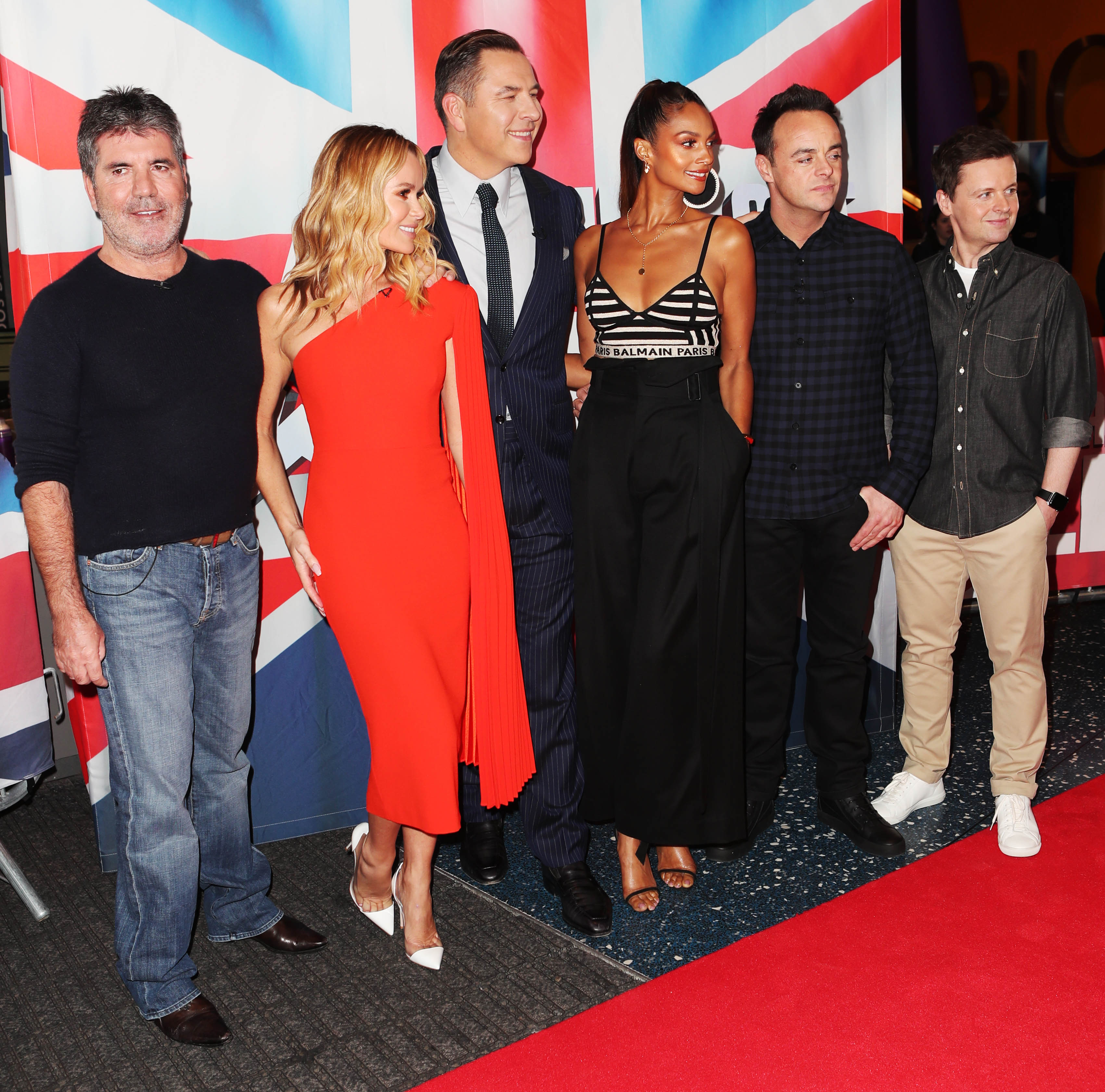 Simon Cowell,Amanda Holden,David Walliams,Alesha Dixon,Ant McPartlin,Declan Donnelly at BGT auditions