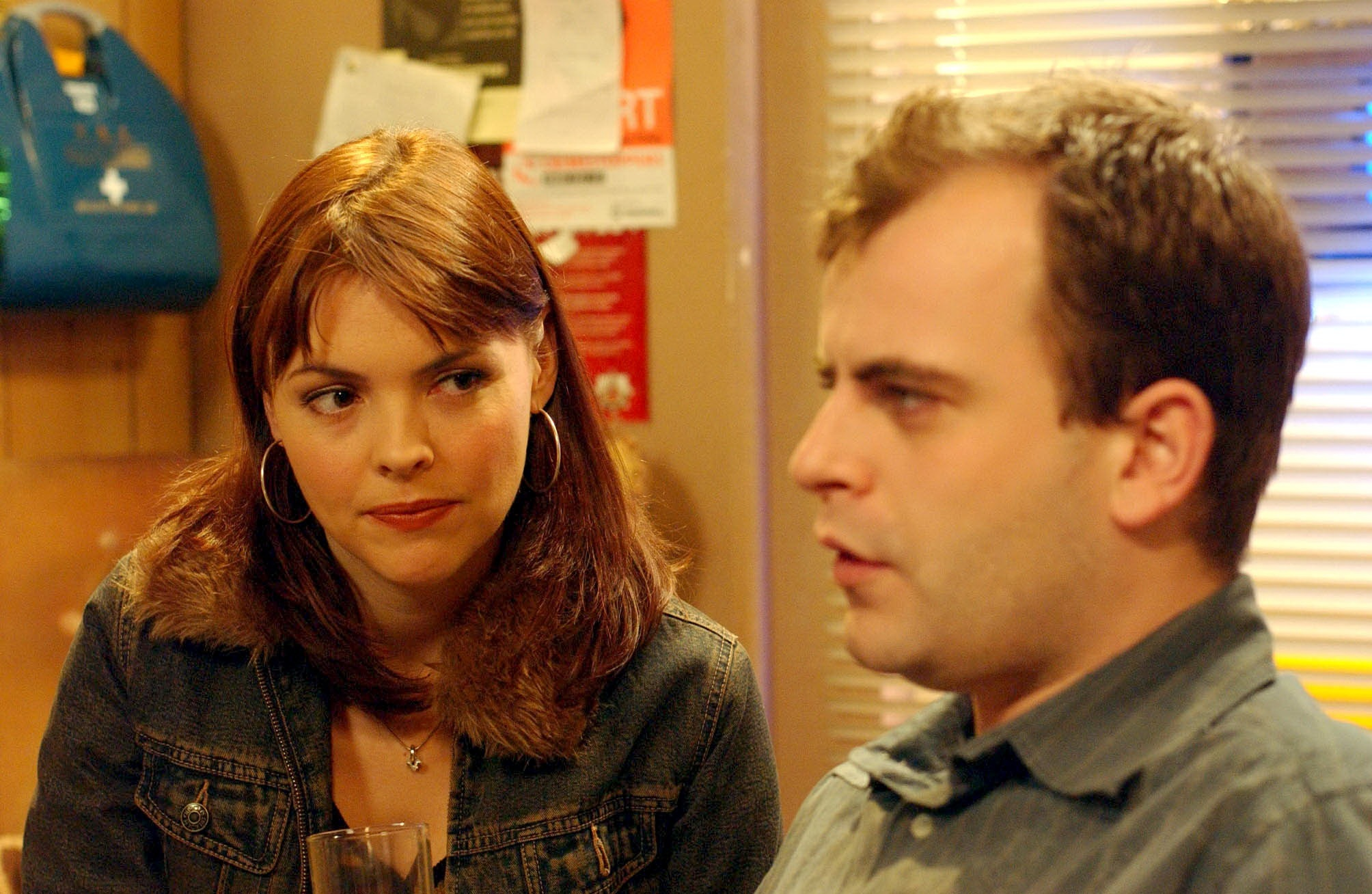 Editorial use only. Exclusive - Premium Rates Apply. Call your Account Manager for pricing. Mandatory Credit: Photo by ITV/REX/Shutterstock (699825dn) 'Coronation Street' TV - 2003 - Steve McDonald (Simon Gregson) gets the shock of his life when Tracy Barlow (Kate Ford) tells him that he is the father of her baby. ITV ARCHIVE