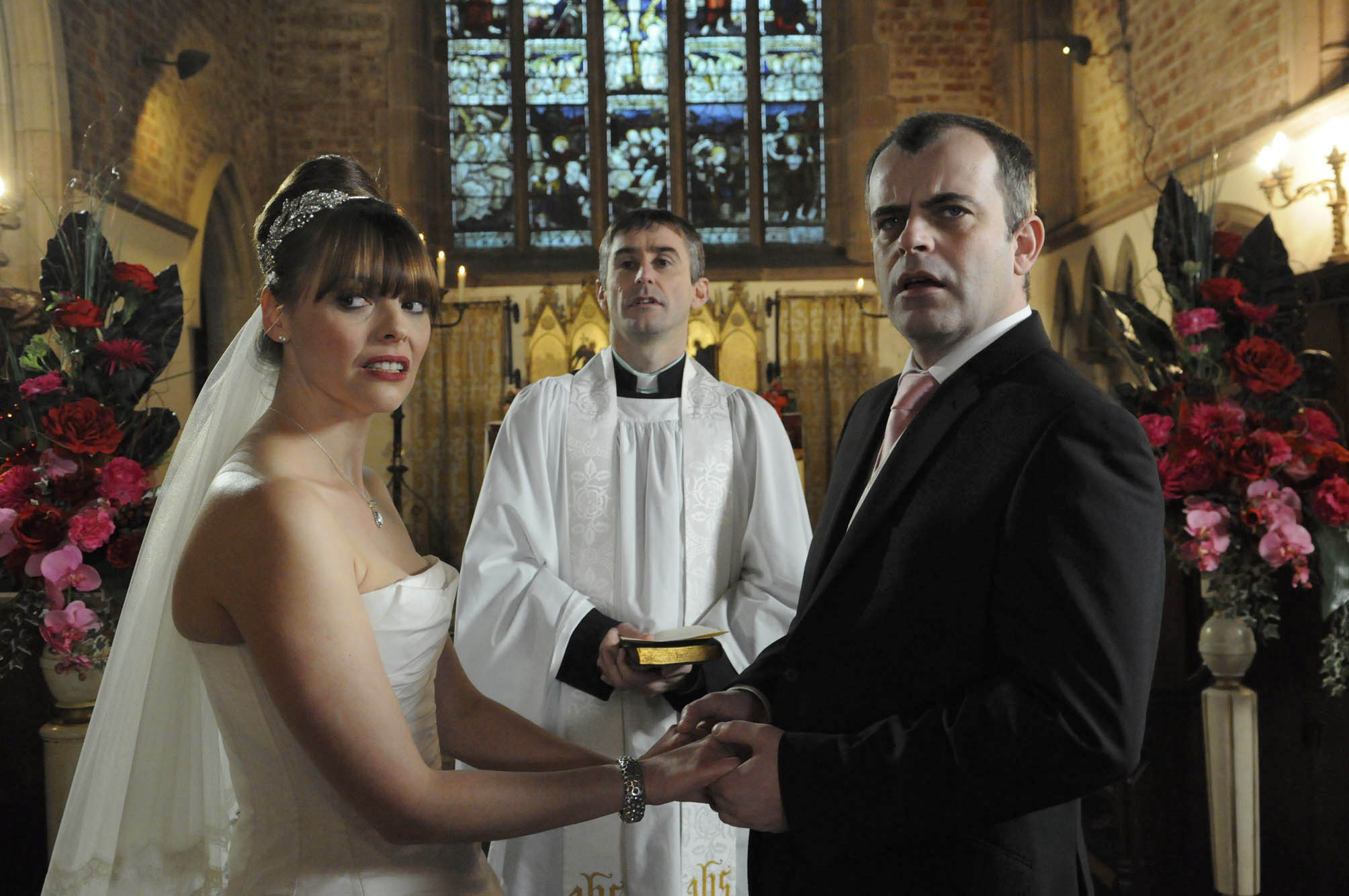 Mandatory Credit: Photo by ITV/REX/Shutterstock (3529622bv) Coronation Street - Ep 7785 Monday 23 January 2012 at 7.30pm At the church both Steve McDonald [SIMON GREGSON] and Tracy Barlow [KATE FORD] are shocked to see Becky McDonald [KATHERINE KELLY] and Kylie there but are prevented from going over as the service begins. The wedding underway Kylie wonders when Becky will drop her bombshell. As the vicar asks if anyone knows of any lawful impediment Becky stands up. Is this her moment for revenge? Coronation Street 2012