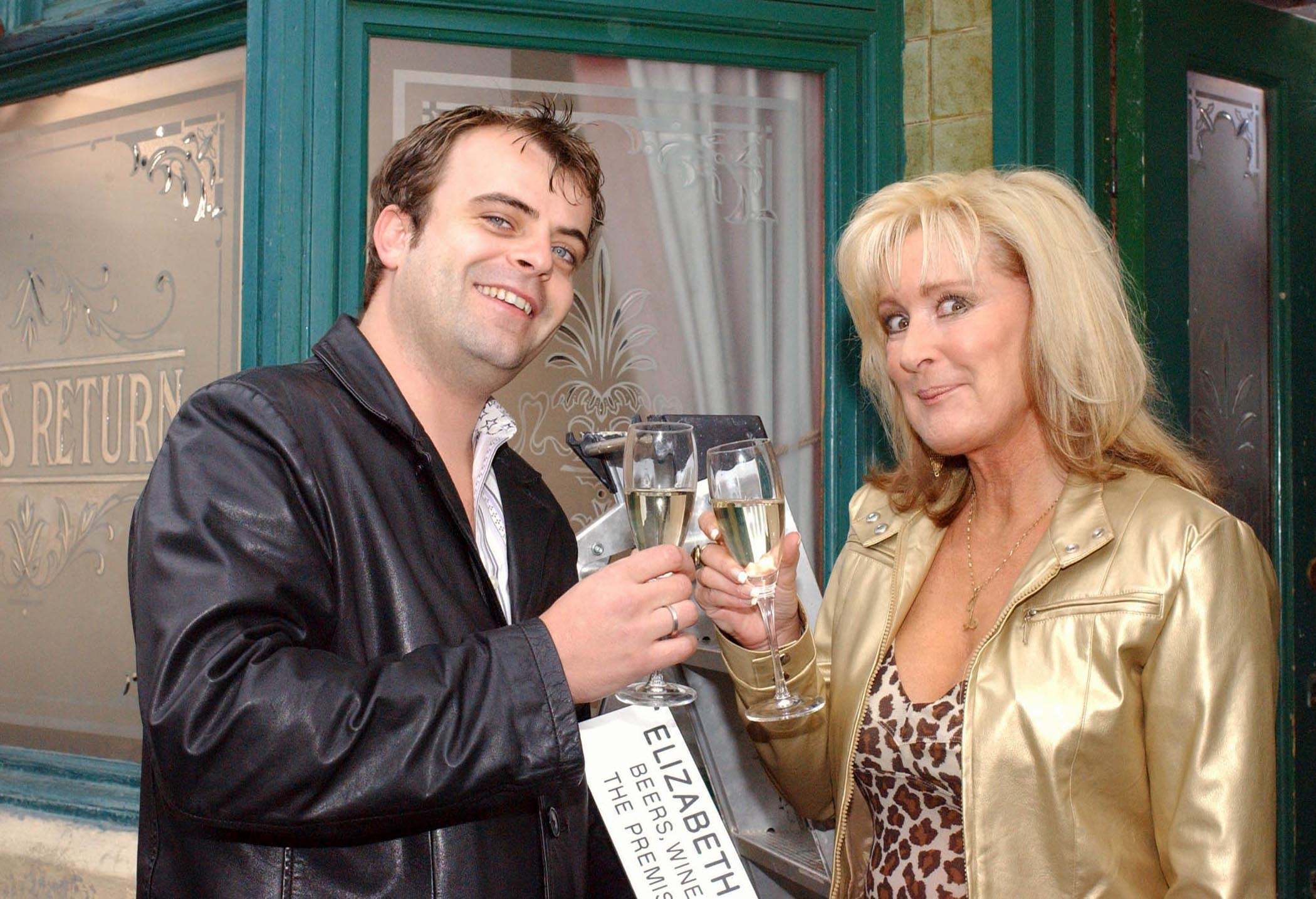 Editorial use only. Exclusive - Premium Rates Apply. Call your Account Manager for pricing. Mandatory Credit: Photo by ITV/REX/Shutterstock (764166bo) 'Coronation Street' TV - 2006 - Steve McDonald (SIMON GREGSON) and Liz McDonald (BEVERLEY CALLARD) Make a toast to their new future in the Rovers ITV ARCHIVE