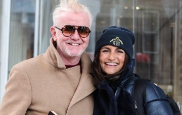 Chris Evans leaves the News Building with his wife, Natasha Shishmanian and their twins, after his first breakfast show on Virgin radio