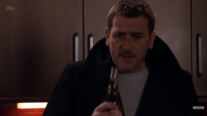 Peter with whiskey Corrie Credit: YouTube/ITV