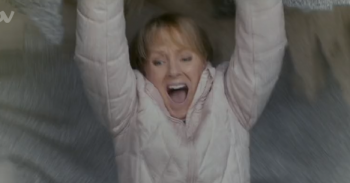 Corrie Sally falls through the roof Credit: ITV