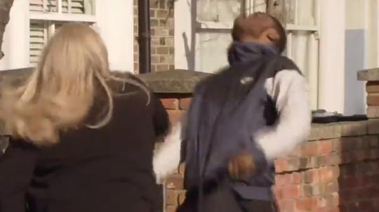 EE Sharon punches thug Credit: Twitter/BBC EastEnders