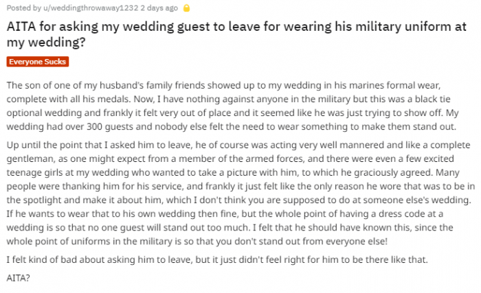 Bride kicks wedding guest out for 'showing off' military uniform