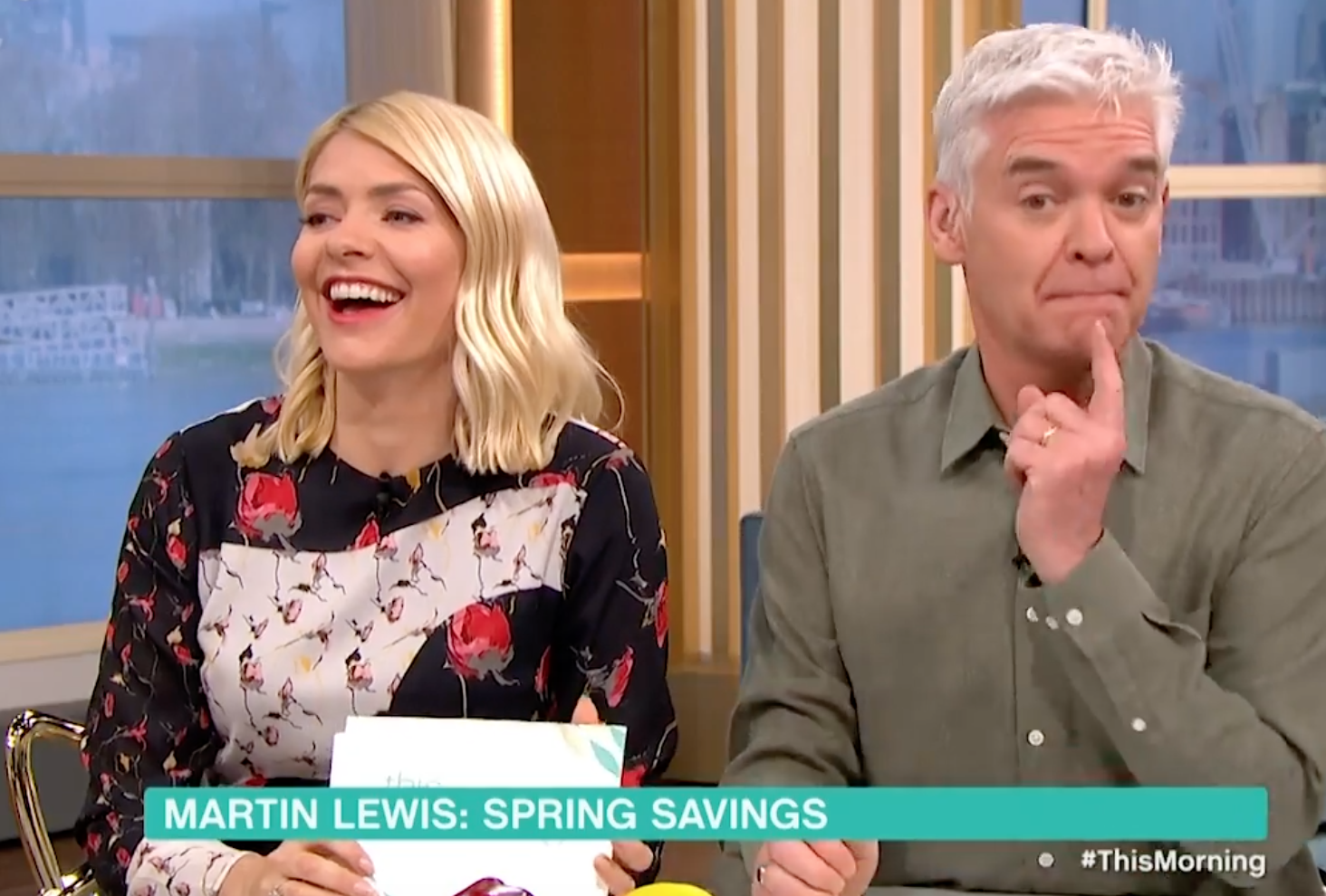 Holly Willoughby and Phillip Schofield giggle on This Morning