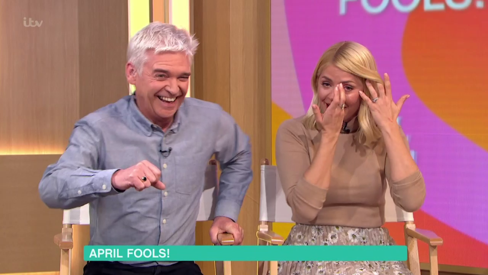 Holly Willoughby in tears over Phillip Schofield's hilarious April Fool's Day prank