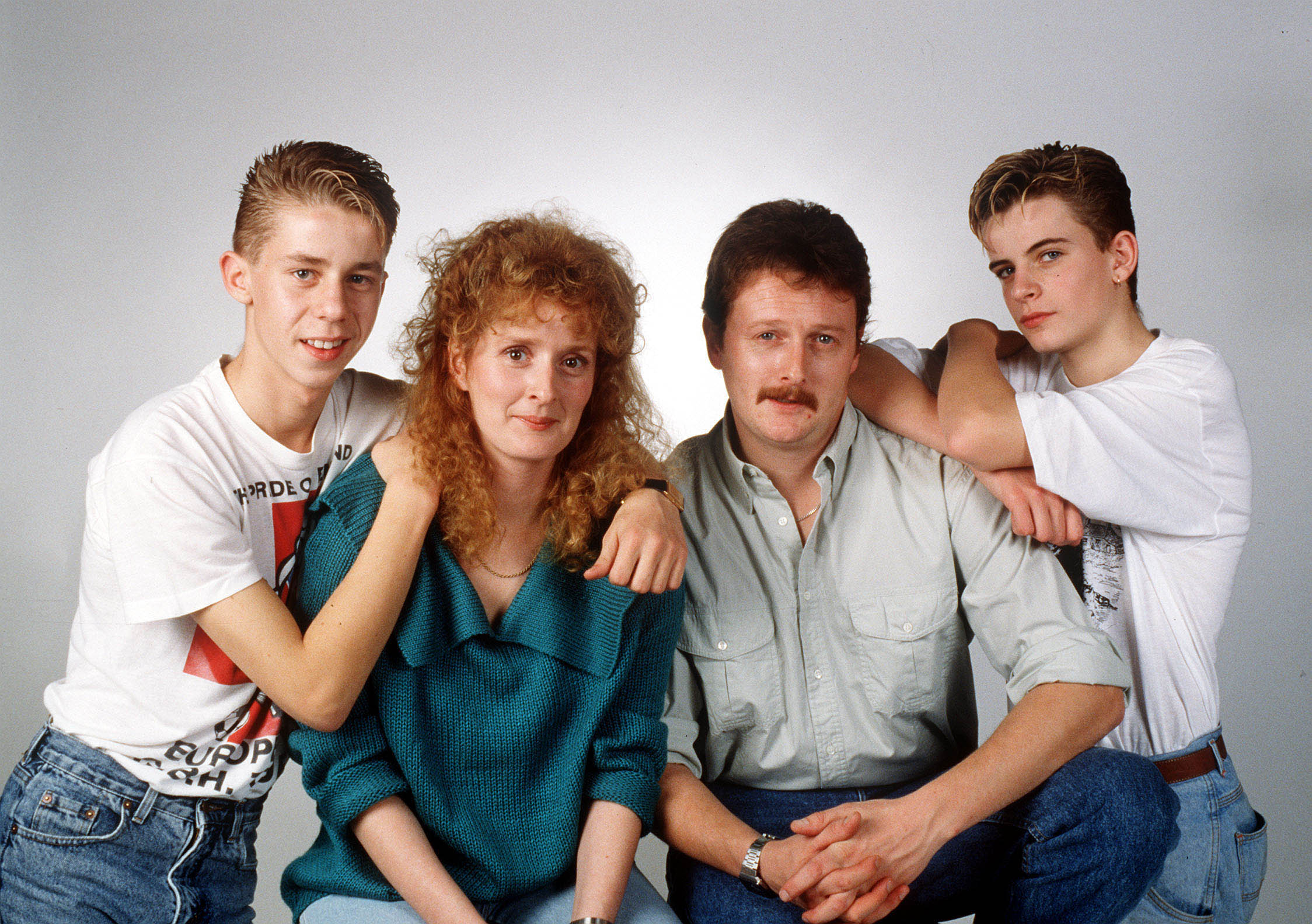 Editorial use only Mandatory Credit: Photo by ITV/REX/Shutterstock (1389417q) Coronation Street 1989 The McDonald Family Andy McDonald [Nicholas Cochrane], Liz McDonald [Beverly Callard], Jim McDonald [Charles Lawson] and Steve McDonald [Simon Gregson]. 'Farewell Liz' TV Programme. - 20 Apr 2011 It is the end of a Corrie era as the nation prepares to say farewell to one of the best-loved characters in British soap history. Liz McDonald, landlady of the Rovers and queen of the miniskirt, is leaving Coronation Street after more than 20 years behind the bar. In this half-hour tribute on ITV1, friends and colleagues applaud the work of actress Beverley Callard, who has played Liz since arriving on the soap in 1989. The programme looks back at some of Liz's greatest storylines and Beverley answers the question that everyone is asking: has one of TV's treasures really gone for good… or will she one day return to Weatherfield?