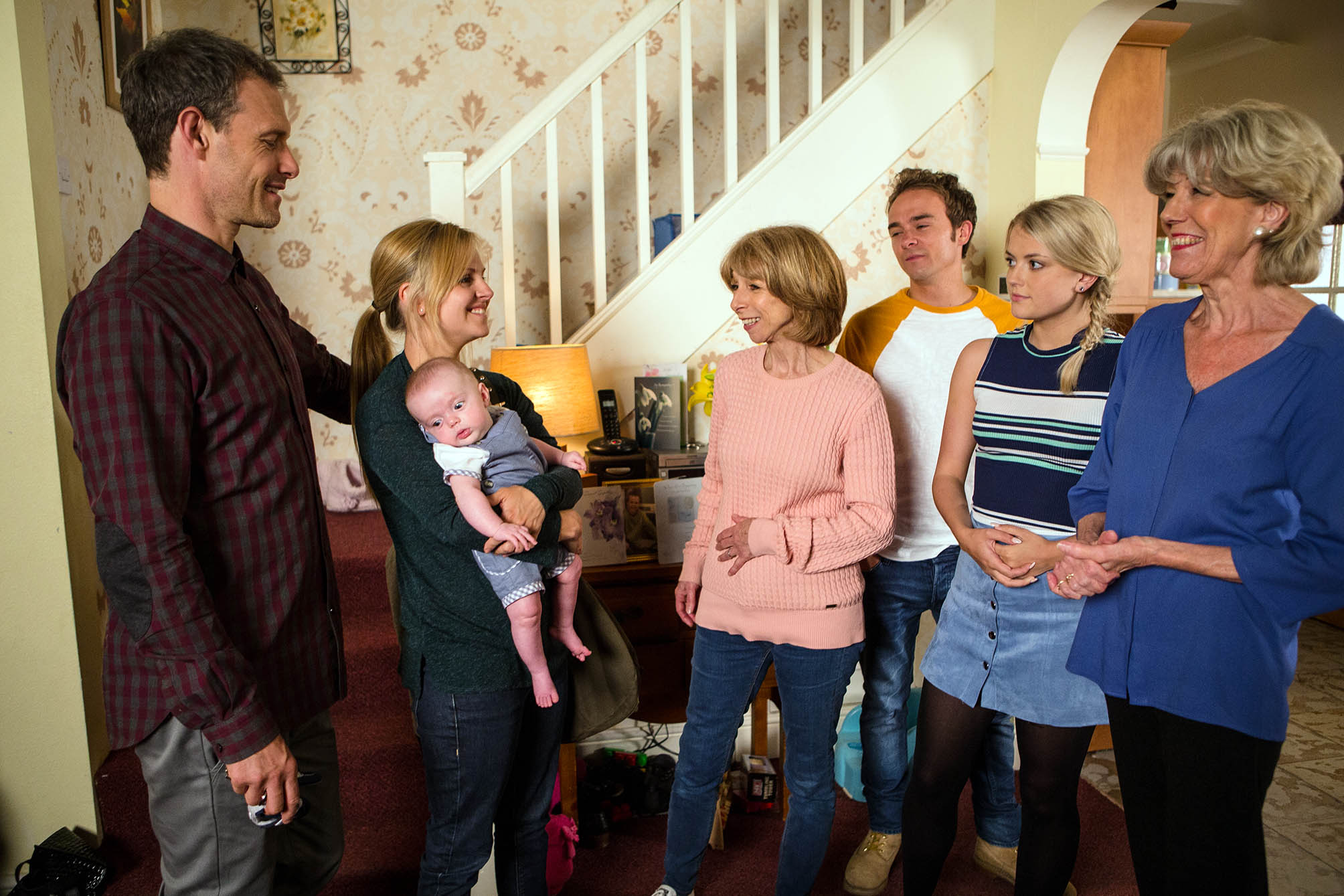 Editorial use only Mandatory Credit: Photo by ITV/REX/Shutterstock (8964552cp) Ep 8956 Friday 29 July 2016 - 1st Ep Having been discharged from hospital for the day, Sarah Platt, as played by Tina O'Brien, returns home with Harry. As the Platts clear out Kylie's clothes, they're taken aback when David Platt, as played by Jack P Shepherd, tells them he's already chosen Kylie's last outfit for the funeral. Aware he's struggling, Sarah suggests to David he should keep Kylie's jewellery for Lily. But David snaps at her to mind her own business and Sarah's increasingly worried about him. 'Coronation Street' TV Series - Jul 2016