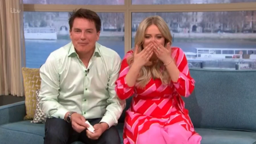 Emily Atack suffers wardrobe mishap after lamb poos on her on This Morning