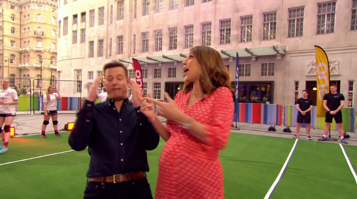 The One Show presenter Matt Baker hit in the face by dodgeball live on air